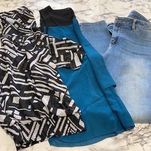 bundle of woman jeans and two blouses